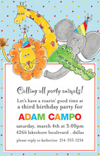 Party Animals Blue Birthday Invitations