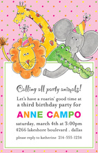 Party Animals Pink Birthday Invitations