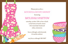 Pink Apron Kitchen Shower Chocolate Border Invitations