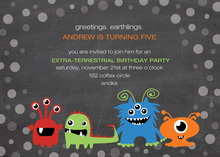 Alien Invaders Chalkboard Birthday Invitations