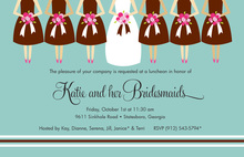 Bridesmaids Aqua Brown Invitations