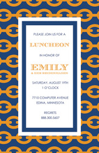 Orange Chain Navy Border Party Shower Invitations