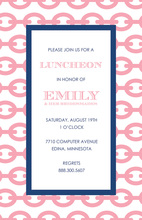 Modern Chain Pink Navy Stylish Party Invitations