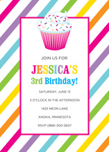 Multicolored Candy Cupcake Invitations