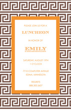 Modern Greek Key Brown Orange Invitations