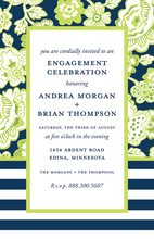 Green Lime Floral Navy White Horizontal Invite