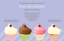 Adorable Cupcake Party Periwinkle Invitations