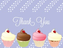 Cupcake Party Periwinkle Thank You Cards