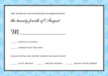Trendy Aqua Damask RSVP Cards