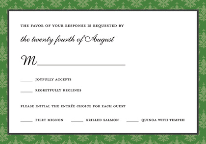 Stylish Green Damask Border Formal Party Invitations