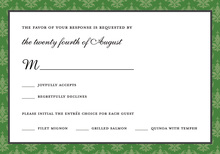 Stylish Green Damask RSVP Cards