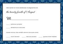 Modern Blue Damask RSVP Cards