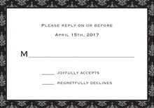 Unique Black Damask RSVP Cards