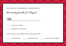 Holiday Red Damask RSVP Cards