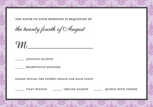 Unique Lavender Damask RSVP Cards