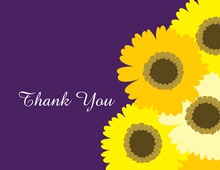 Yellow Floral Purple Thank You Cards