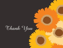 Orange Floral Charcoal Thank You Cards