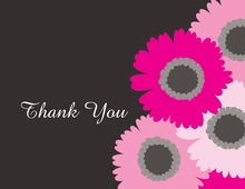 Hot Pink Floral Charcoal Thank You Cards