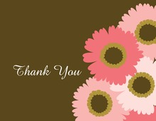 Pink Floral Brown Thank You Cards