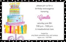 Watercolor Glowing Birthday Cake Invitations