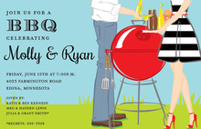Summer Couple with Charcoal Grill Invitations
