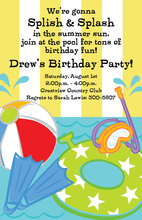 Whimsical Summer Fun Splish Splash Invitations