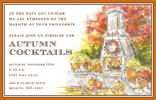 Charming Harvest Hearth Watercolor Invitations