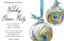 Peacock Ornament Baubles Holiday Invitations