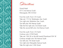 Teal Damask Flanks Enclosure Cards