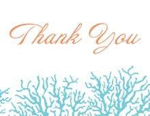 Beautiful Blue Coral Thank You Cards