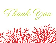 Romantic Red Coral Thank You Cards