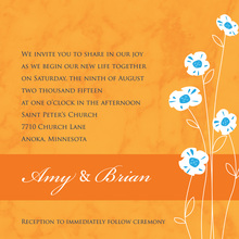Daisies Modern Marble Orange Invitations
