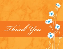 Daisies Modern Marble Orange Thank You Cards