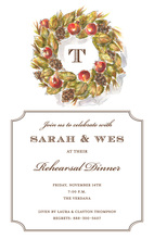 Woodland Wreath Monogrammed Invitation