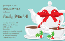 Wrapped Holly Tea Pot Holiday Invitations