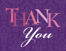 Modern Purple Damask Thank You Cards