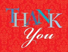 Playful Red Damask Thank You Cards