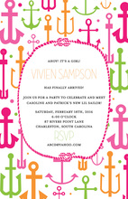 Anchor Rope Pink Invitation