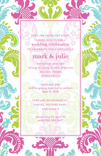 Semi-Transparent Bright Damask Invitations