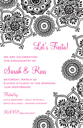 Charming Holiday Fiesta Flowers Invitation