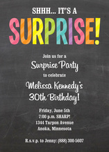 Multicolored Striped Surprise Party Invitations