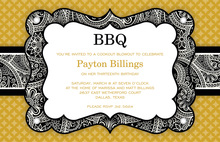Black BBQ Bandana Border Invitations