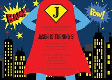 Superhero Standing By Birthday Party Invitations