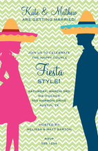 Chevron Fiesta Silhouette Couple Invitations