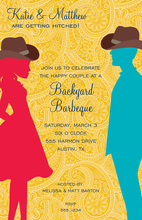 Mustard Paisley Western Couple Invitations