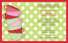 Holiday Tea Cups White Polka Dots Invitation