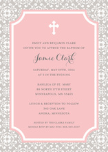 Cross Tile Pink Religious Invitations