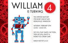 Robot Red Accents Gear Invitations