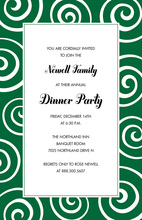 Classy Whimsical Decorated Swirls Green Invitations