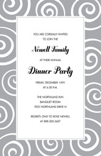 Heritage Whimsical Swirls Grey Invitations